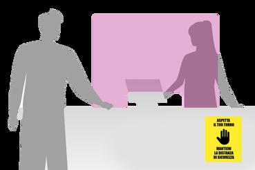 Sistemi di protezione e segnaletica covid19: •  Schermi parafiato in plexiglass •  Adesivi calpestabili •  Cartelli e adesivi di segnalazione