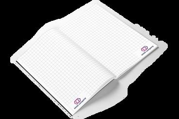 Quaderno in brossura: •  Comunica con utiità •  Rilegato con colla •  Interno e copertina personalizzabili