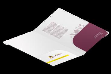 Cartelline con due tasche: •  Disponibili con 2 o 3 ante •  2 template pronti •  Doppia tasca incollata