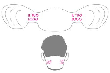 Mascherina in carta: • Personalizzabile a colori • Prodotta in carta monouso • incastro variabile sulle orecchie