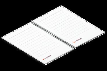 Quaderno con spirale: •  Per prendere appunti comodamente •  Completamente personalizzabile •  Diverse nobilitazioni e colori spirale