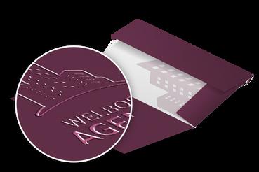 Cartellina con alette e vernice uv: •  Per presentare e raccogliere •  10 template pronti •  Eleganti e utili