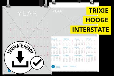 Calendario Poster 68,2x99 cm: Disponibili 3 impaginati grafici pronti da personalizzare: – Hooge – Interstate – Trixie  Cerchi delle foto da inserire nel calendario? Prova uno dei nostri set fotografici