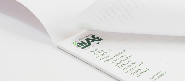 Inac Notebooks: Print: 3 Pantone colours Paper inside: arcoset 90 gsm Cover paper: matt coated 250 gsm Processes: top-edge gluing