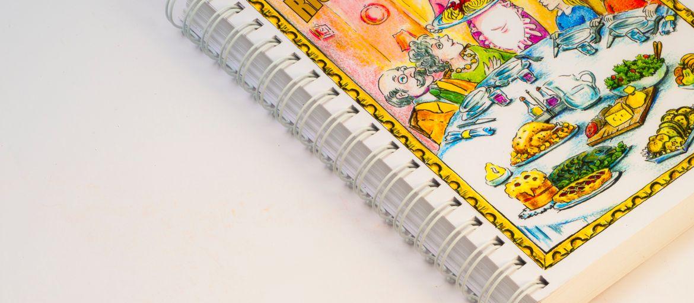 Online printing Recipe book: Print: 4 colours Paper inside: matt coated 400 gsm Cover paper: matt coated 400 gsm Processes: metal spiral binding