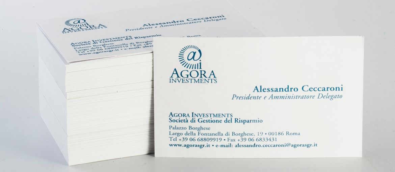Online printing Agora Business cards: Print: 1 Pantone colour Paper: Splendorgel Extra White 340 gr processes: heat embossing
