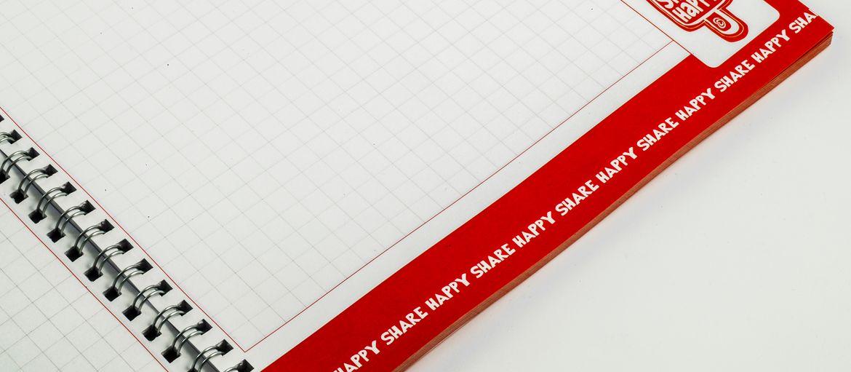 Stampa online Quaderni con Spirale - Algida: Stampa: 4 colori Carta interno: arcoset 90gr Carta copertina: patinata opaca da 400 gr con plastificazione opaca lavorazioni: spirale metallica (vista interna)
