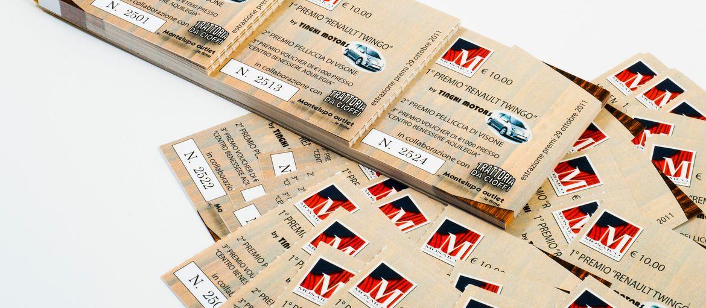 Blocs numérotés Loterie: Impression : 4 couleurs Papier: couché mat de 150 g façonnage : agrafes métalliques et perforation; numérotation progressive